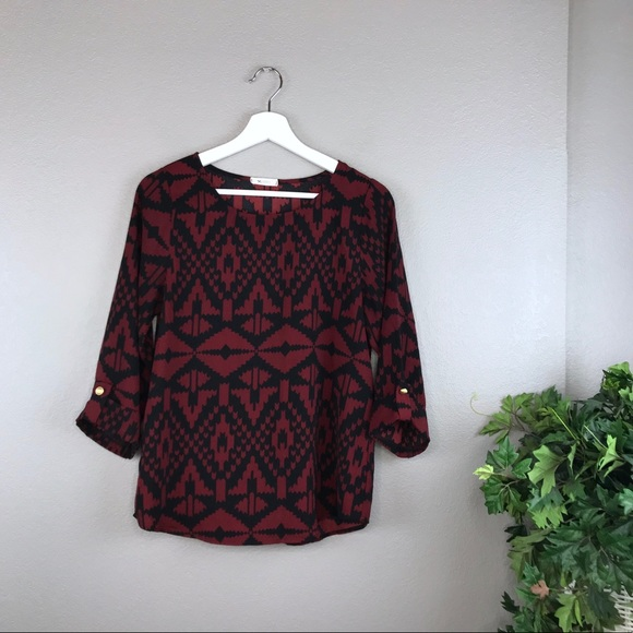 Everly Tops - ModCloth Everly Maroon / Black 3/4 Sleeve Blouse